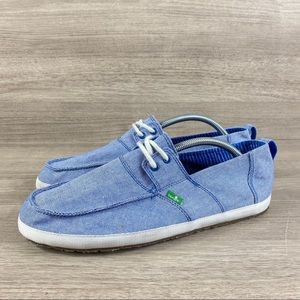 Sanuk Admiral TX Blue Lace Up Boat Shoes Slip On